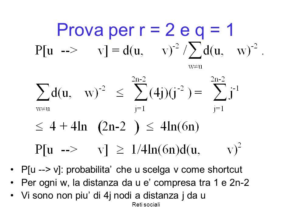 Prova per r = 2 e q = 1 P[u --> v]: probabilita' che u scelga v come shortcut. Per ogni w, la distanza da u e' compresa tra 1 e 2n-2.